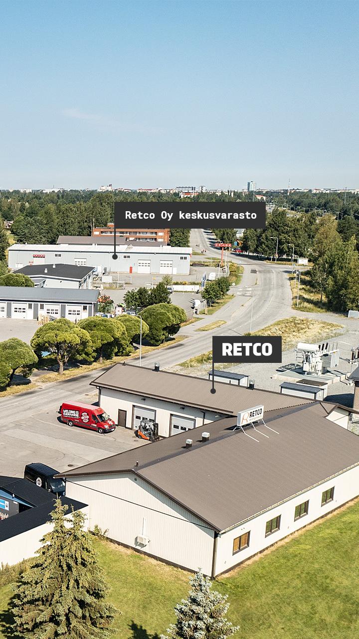 Retcon toimitilat ja keskusvarasto Porissa.