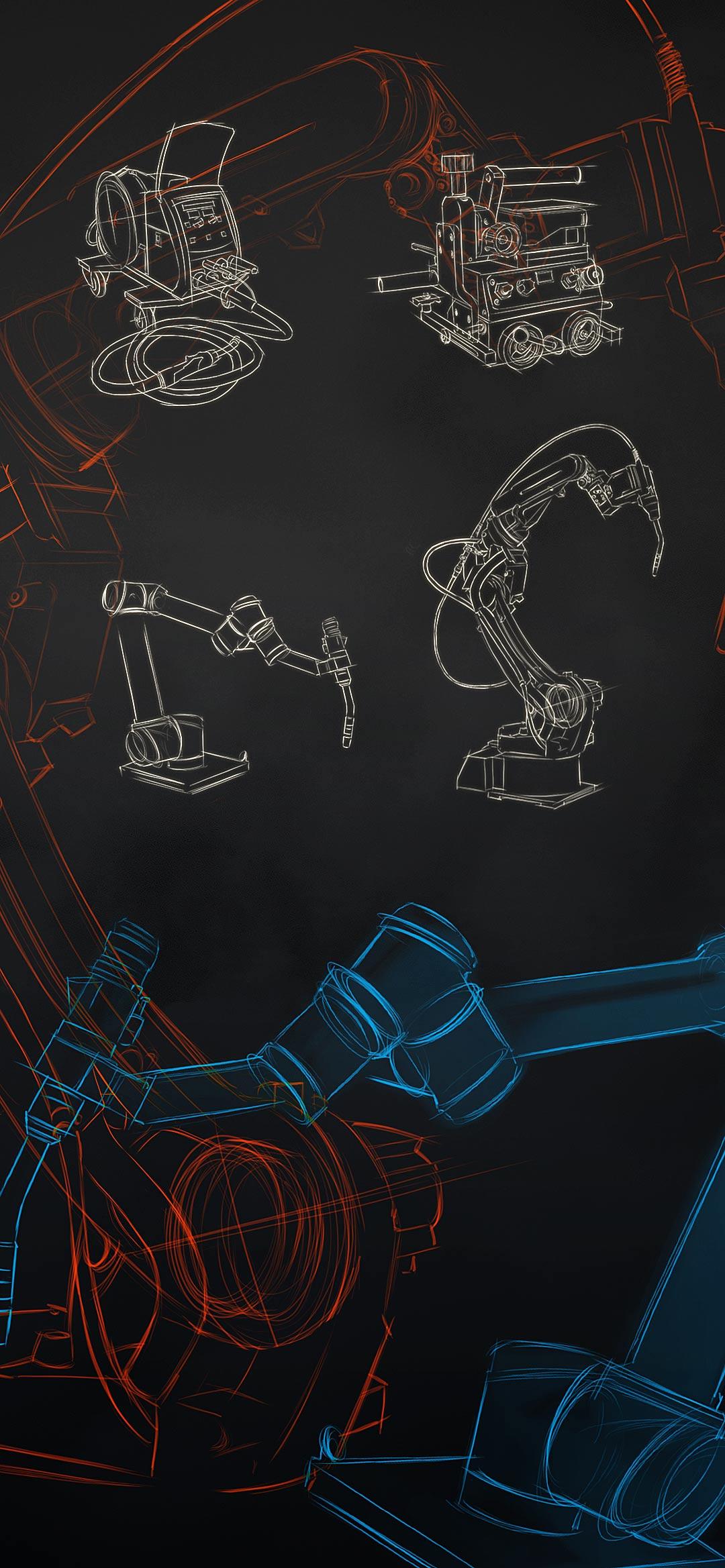 Panasonic TAWERS hitsausrobotti ja piirreetyt kuvat hitsauslaitteista.
